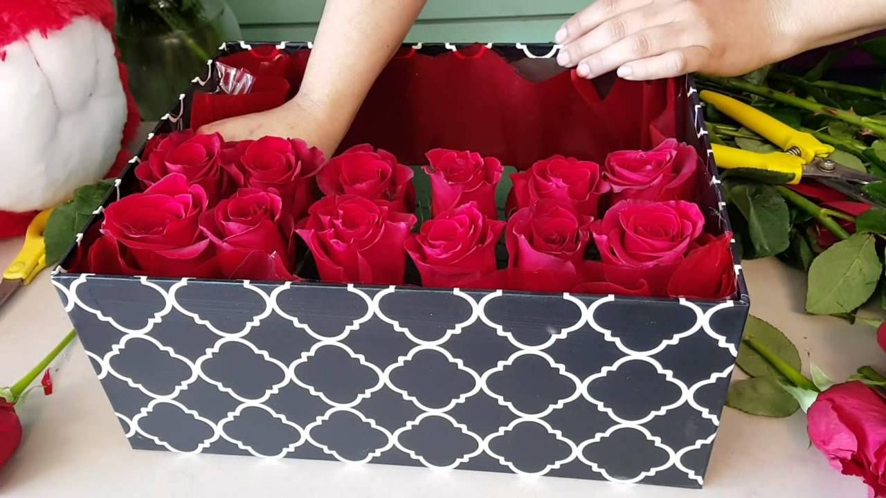Roses In Black Corner Box Artificial Flowers Gift For Birthday LUXURY
