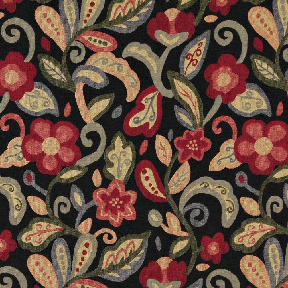 Green Red Orange And Black Floral Contemporary Upholstery Fabric By The Yard Contemporary Upholstery Fabric Floral Upholstery Upholstery Fabric