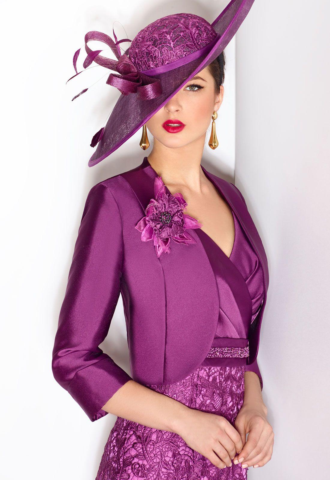 DONNA 06467 Conjunto vestido de fiesta con manga corta y chaqueta en ...