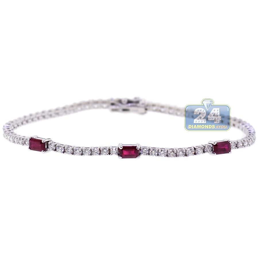 Womens carat red ruby gemstone diamond tennis bracelet k
