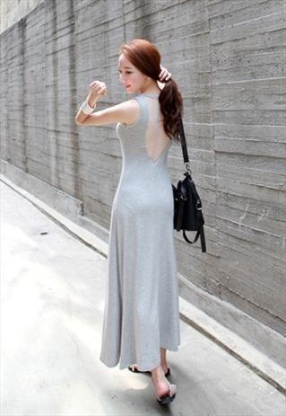 Back Mesh Vest Maxi Dress -Grey