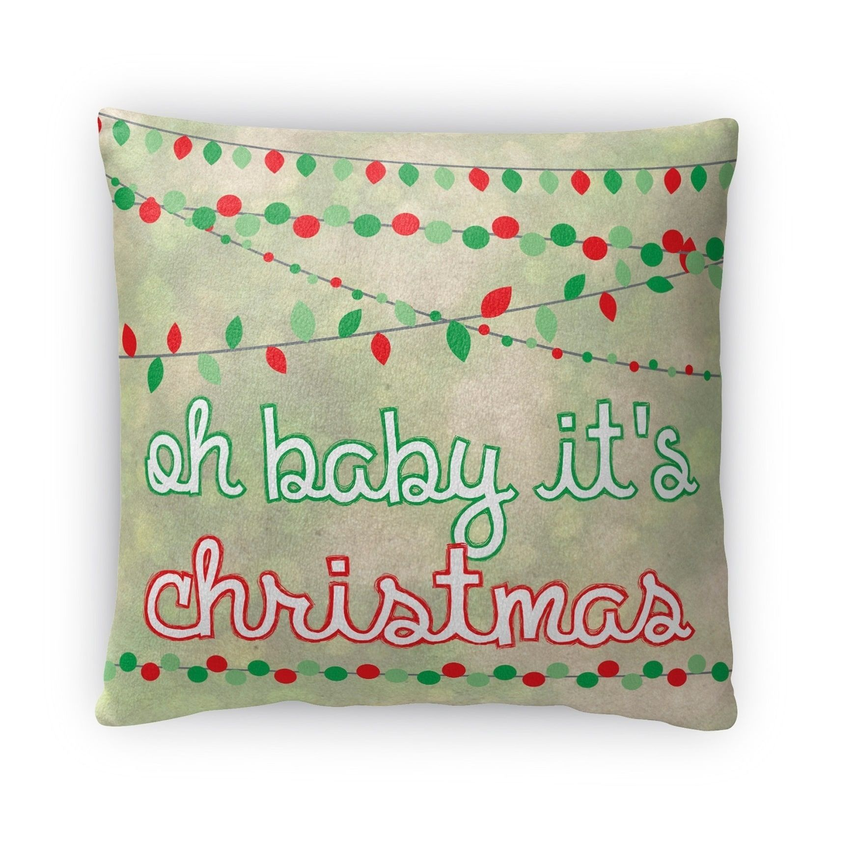 Kavka Designs Red Oh Baby Its Christmas Throw Pillow