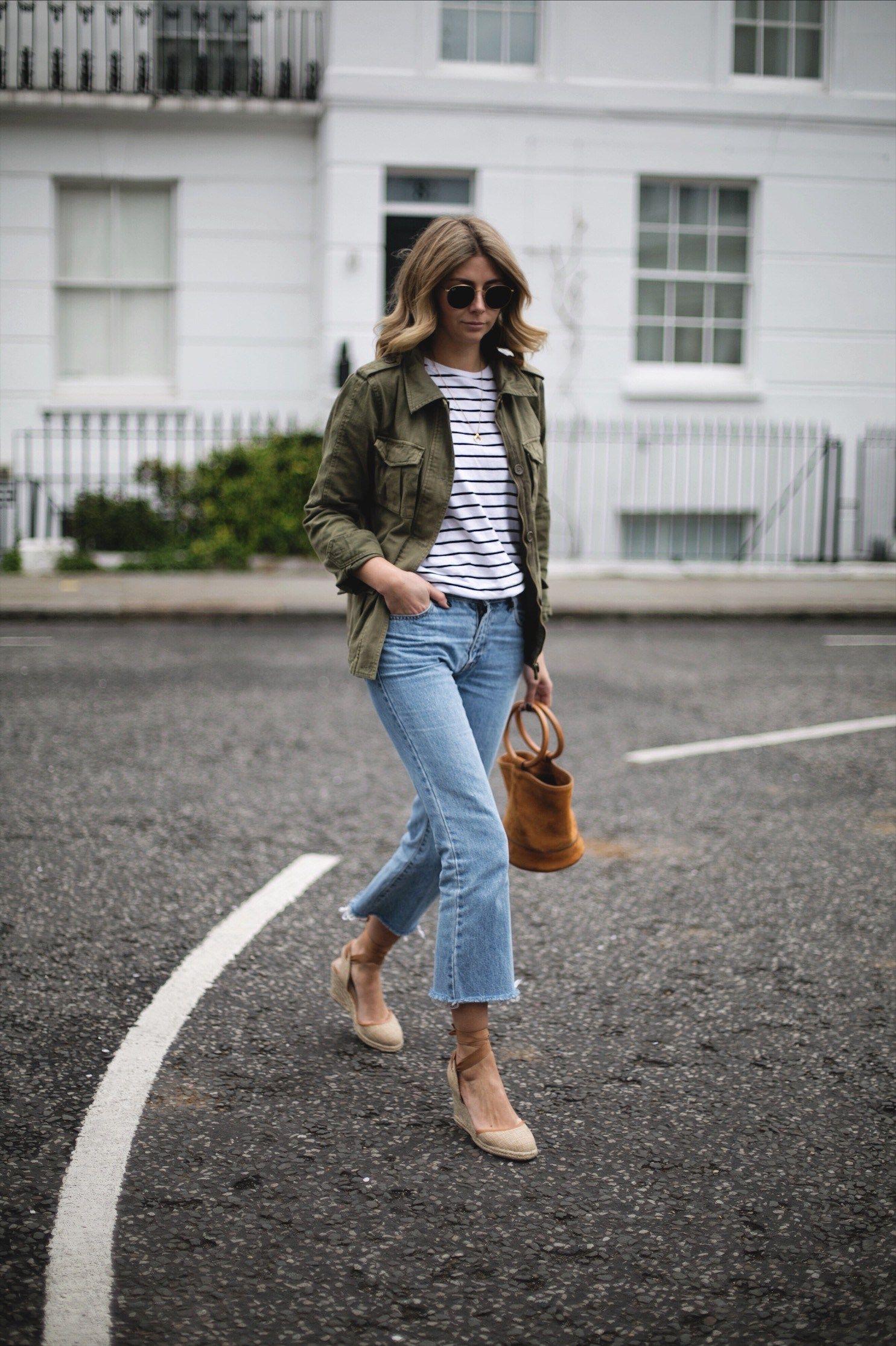 Emma Hill Wears Khaki Utility Jacket Black White Stripe T Shirt Hem Cropped Flare Frayed Jeans Canvas Wedge Espadrilles Simon Miller Tan Suede Bonsai