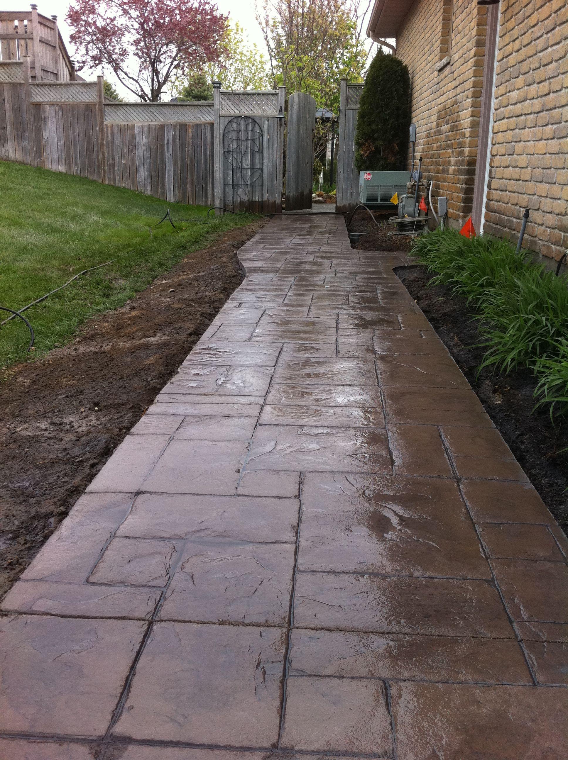grand ashlar slate stamped concrete sidewalk in kilworth ontario ... - Stamped Concrete Ideas Patios