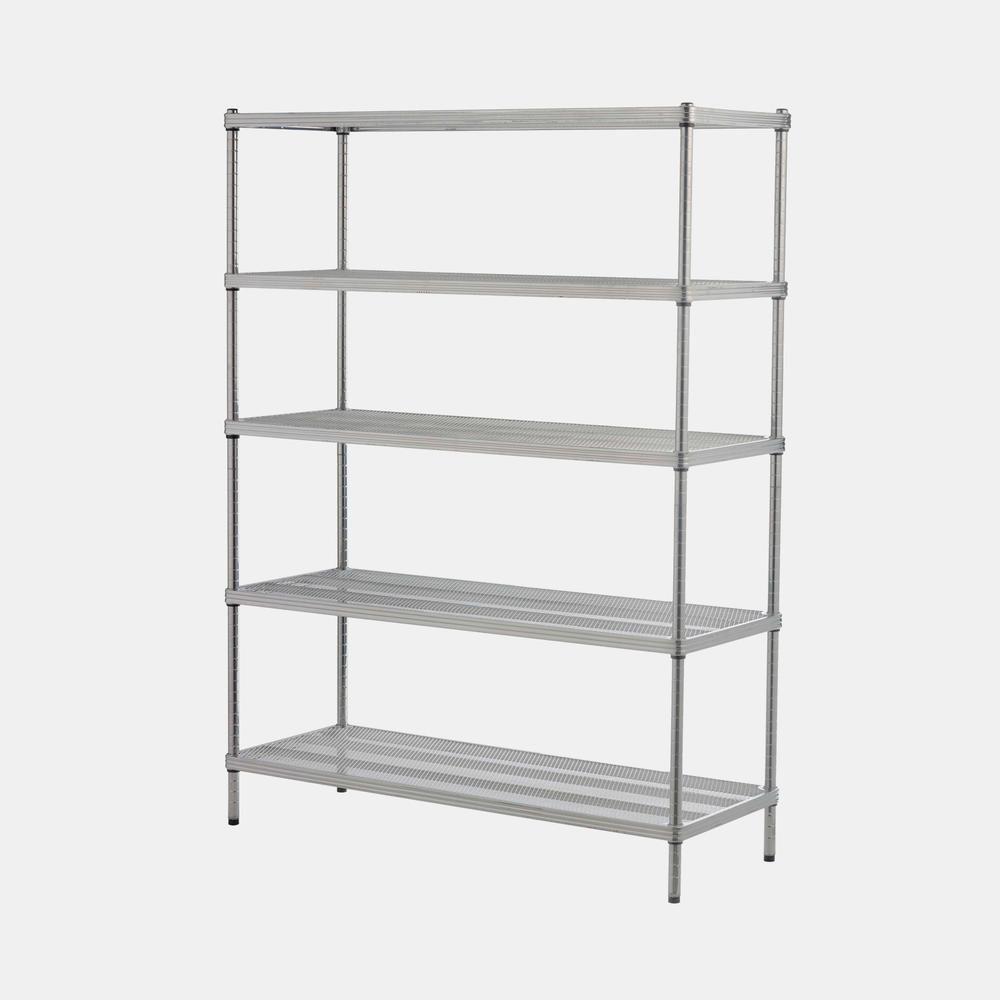 5 Shelf Mesh Shelving Unit White In 2020 Metal Shelving Units Shelves Wire Shelving