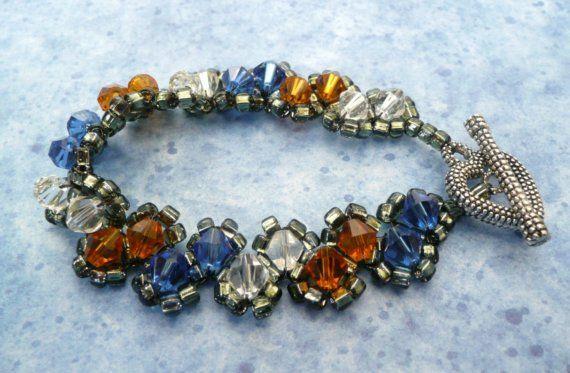Team Colors Bracelet, Large Woven Crystals, Custom Fan Colors in Swarovski on Etsy, $29.00