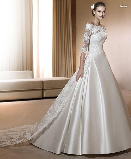 trajes de novia 2011. elegante modelo con original abrigo en encaje