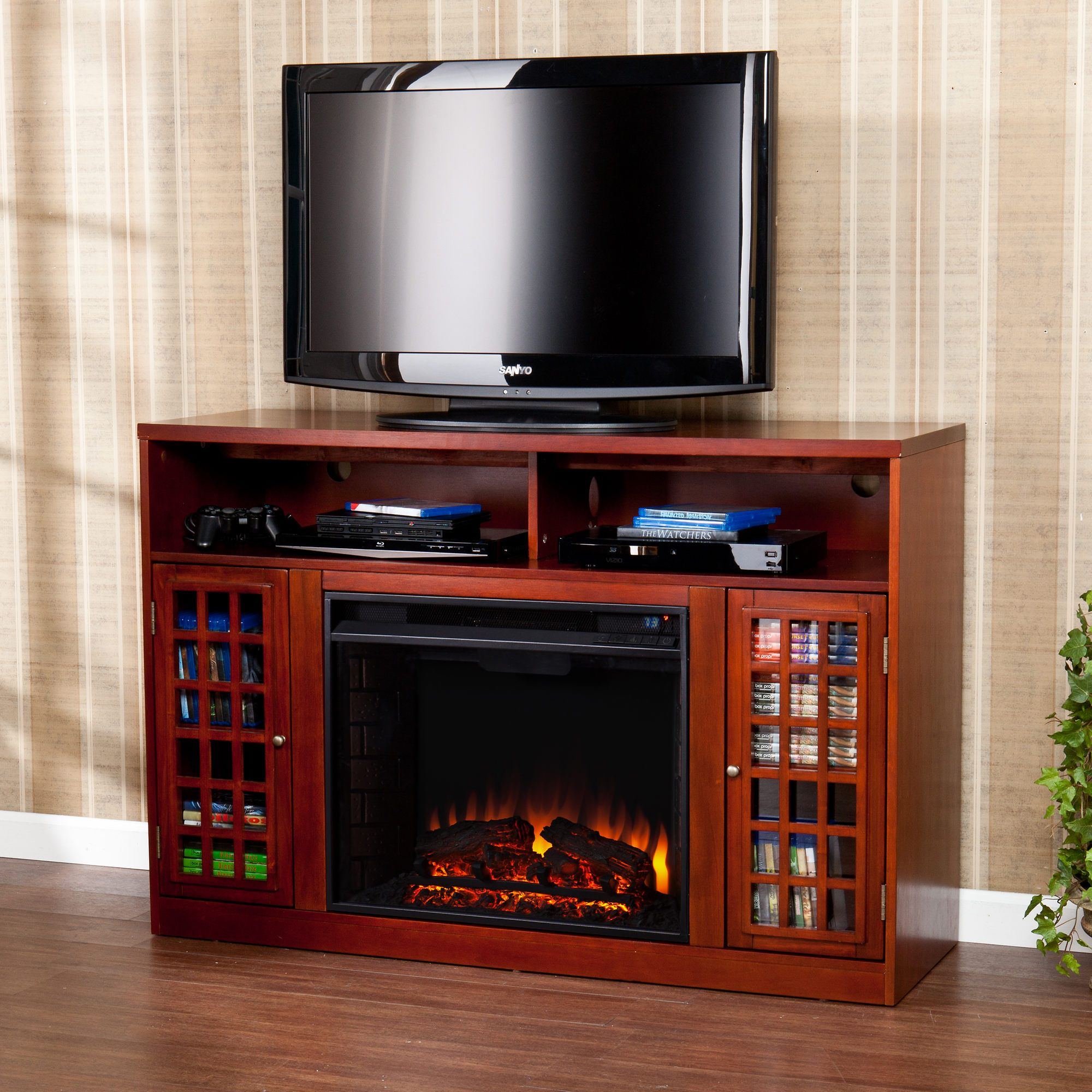 Sei Morita Media Console Electric Fireplace Mahogany Electric
