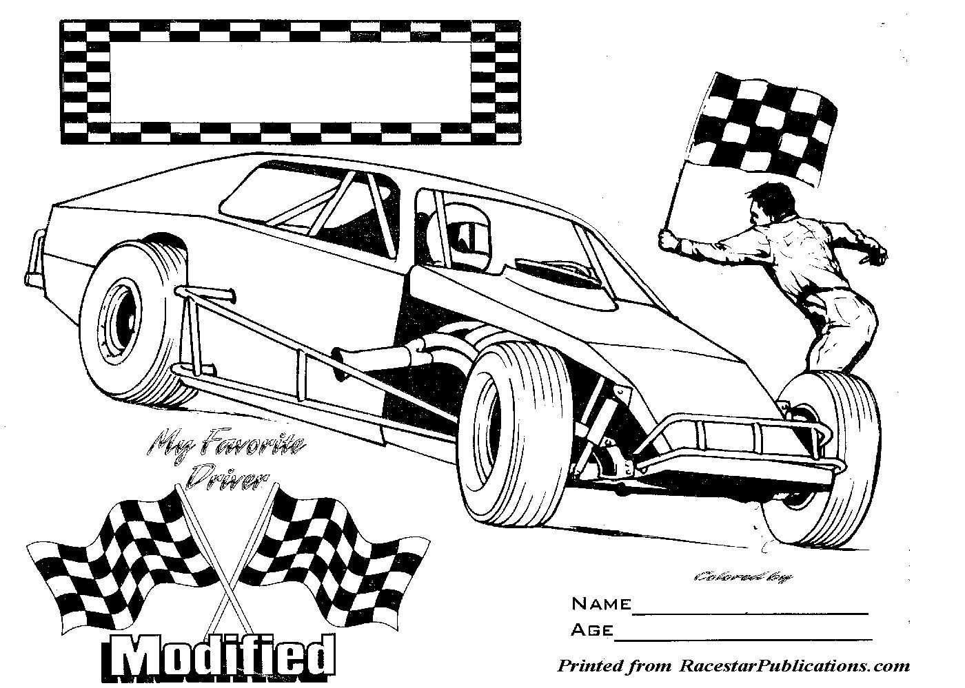Free coloring pages race cars - Nascar Coloring Pages Modified Race Car Colouring Pages