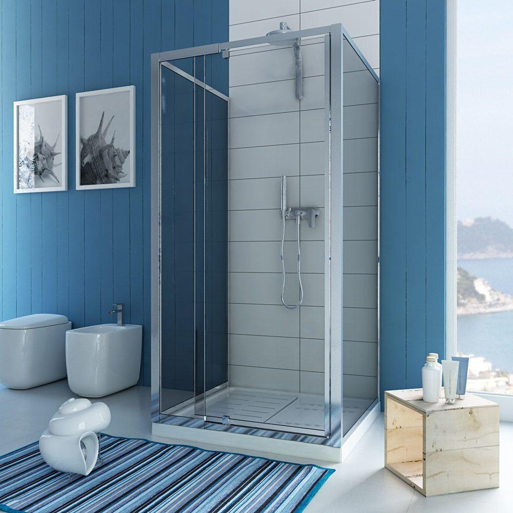 Shower enclosure 3 sided pivot door hinge cubicle glass bathroom ...