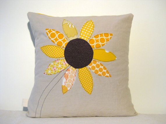 Yellow Sunflower Cushion Cover Free Motion Applique