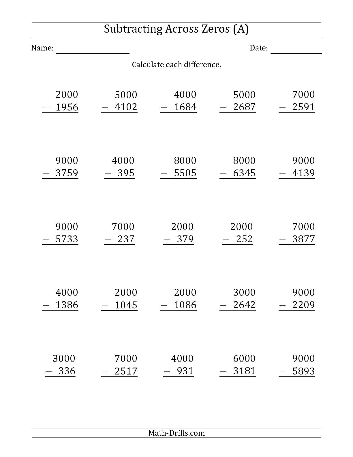 The Subtracting Across Zeros From Multiples Of 1000 A Math Worksheet From The Subtraction W Subtraction Across Zeros Addition Worksheets Math Fact Worksheets