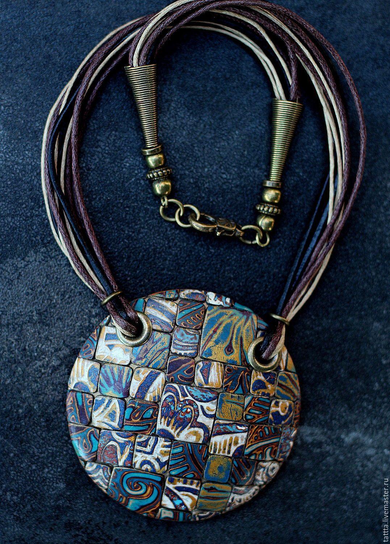 Купить кулон из полимерной глины яркий день мозаика - разноцветный, кулон, круный кулон, волшебство