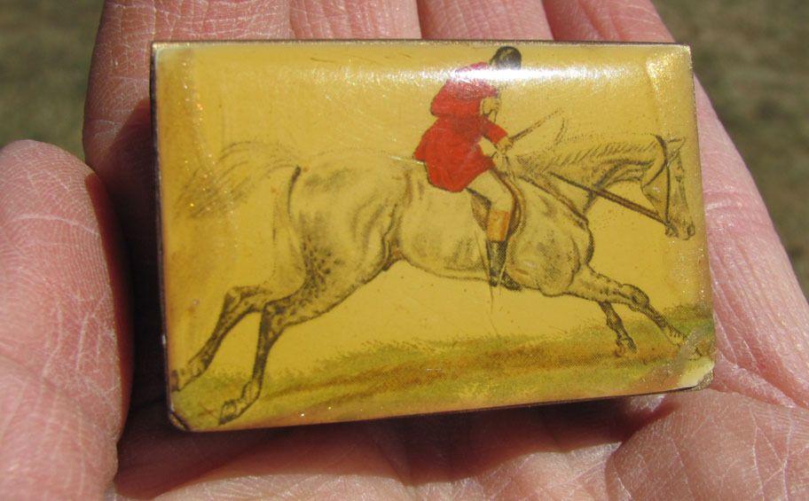 Amazing Antique Celluloid MATCH SAFE Horse HUNT SCENE RARE!