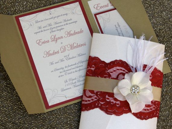 VINTAGE GLAMOUR: Deep Red And Gold Lace Pocketfold Wedding Invitation,  Flower Wedding Invitation, Unique Shabby Chic Wedding Invitation