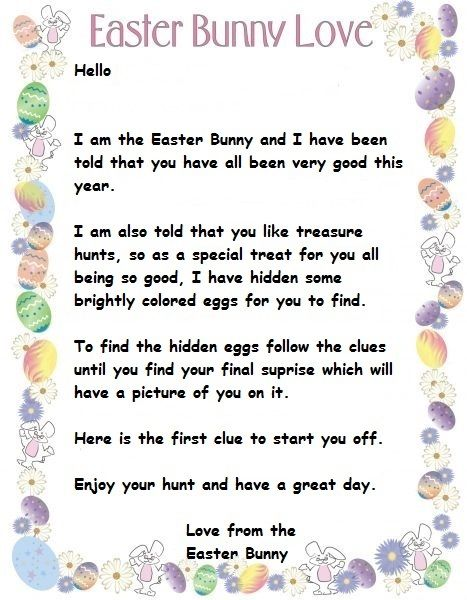 Letter from the Easter Bunny I have put together for the kids