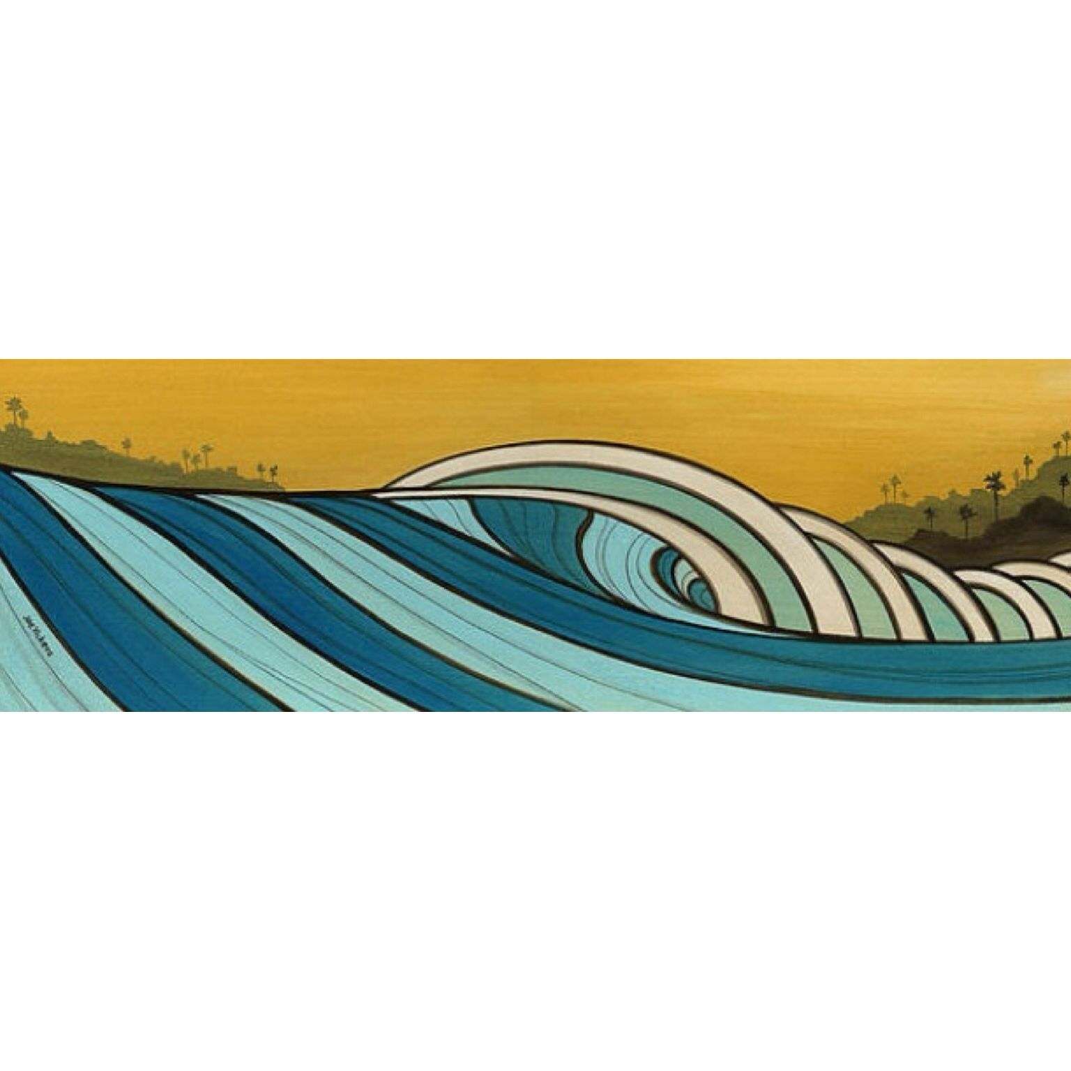 The Hills - mixed media in wood - surf art by Joe Vickers