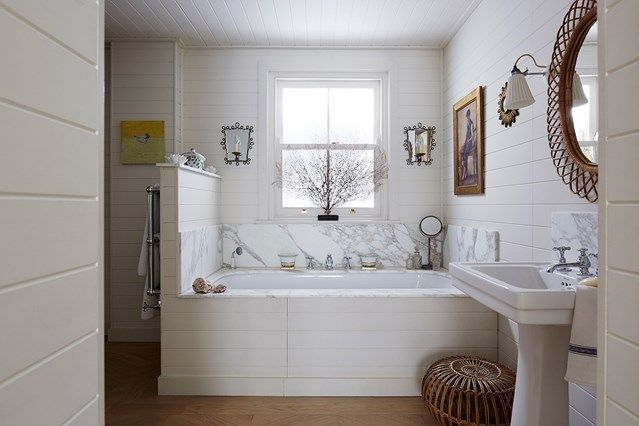 White Bathroom With Marble U0026 Wood Panelling In Bathroom Design Ideas On  HOUSE. Ideas For