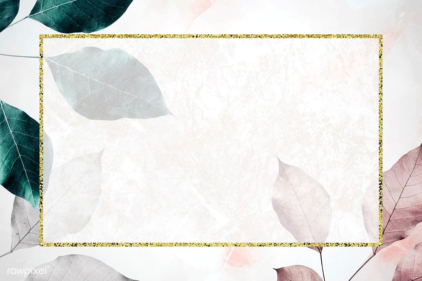 Rectangle Frame On Metallic Leaf Pattern Background Vector Premium Image By R Poster Background Design Powerpoint Background Design Vector Background Pattern