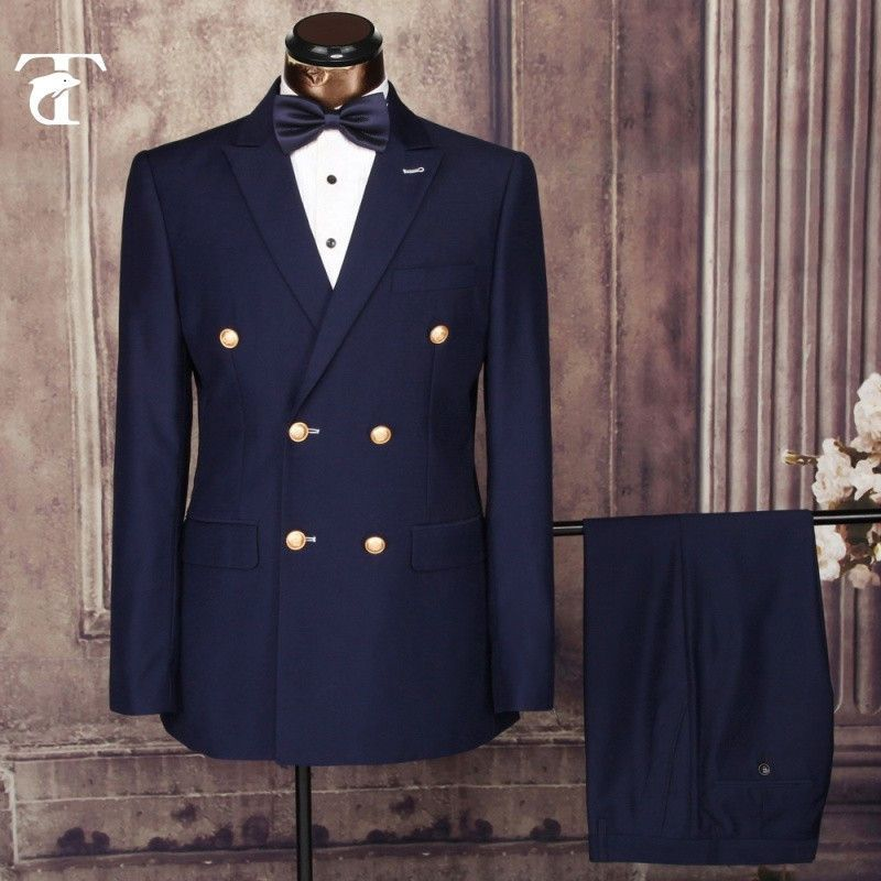 Men/'s Navy Blue Double Breasted Suit Slim Fit Tuxedos Wedding Dinner Prom Suits