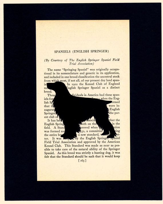 hand cut english springer spaniel silhouette on upcycled book page