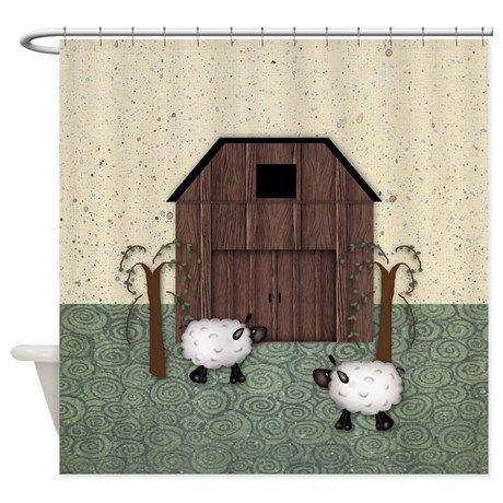 Barn Sheep Shower Curtain On CafePress