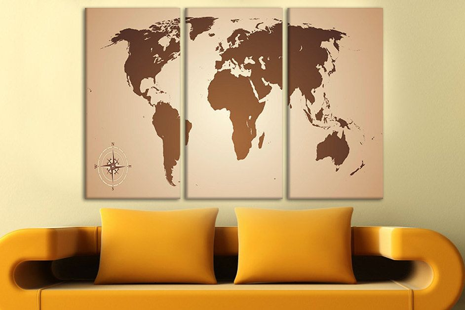 Brown world map canvas World map wall canvas World map for pinning ...
