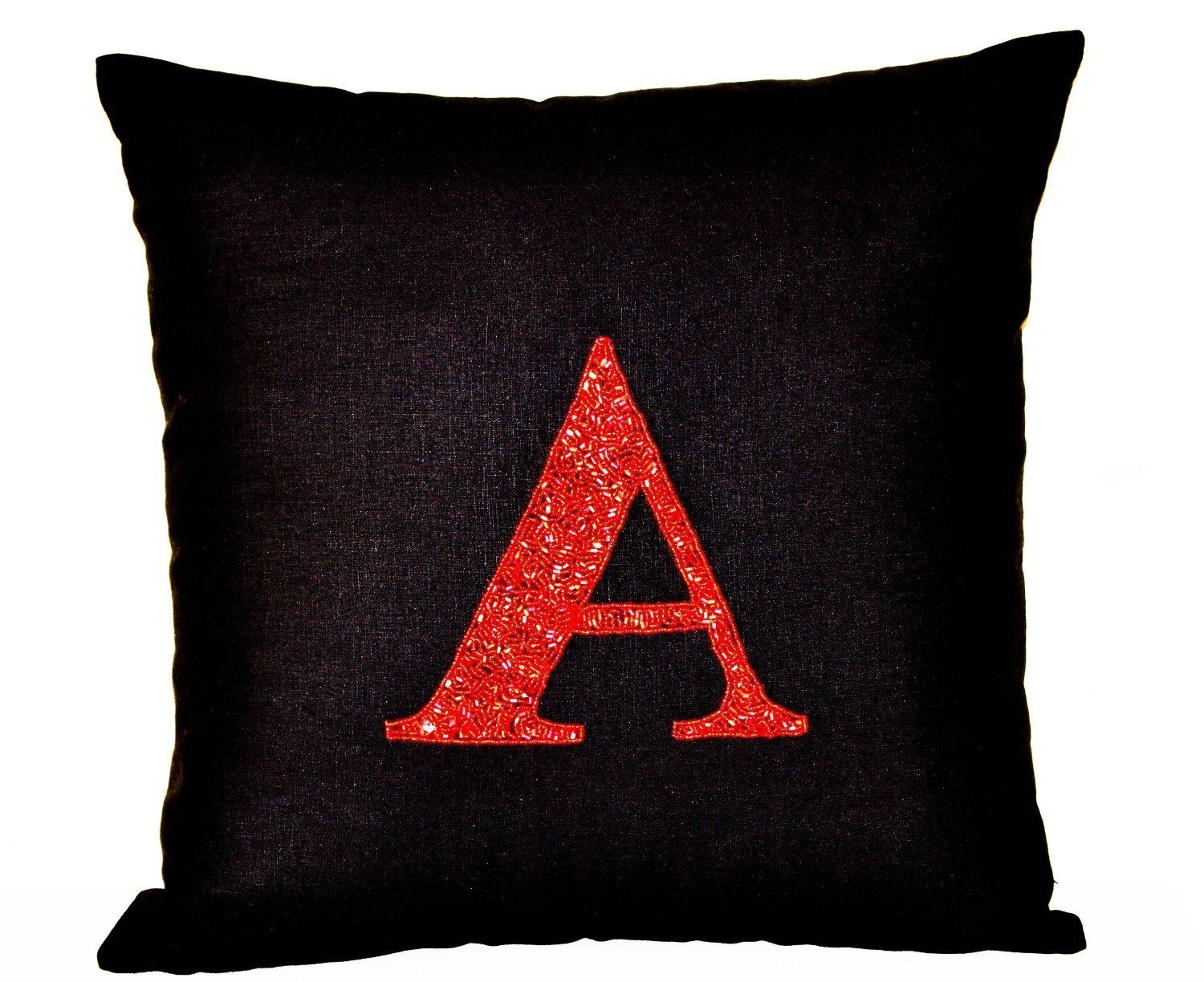 Initial Pillow Covers Entrancing Amore Beaute Handcrafted Initial Pillow Cover  Red Sequin Monogram Review
