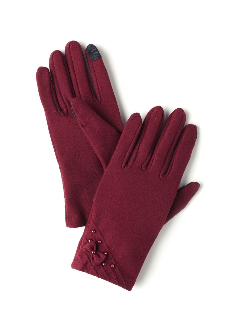 Bows and Burgundy Gloves - Red, Solid, Bows, Pearls, Winter