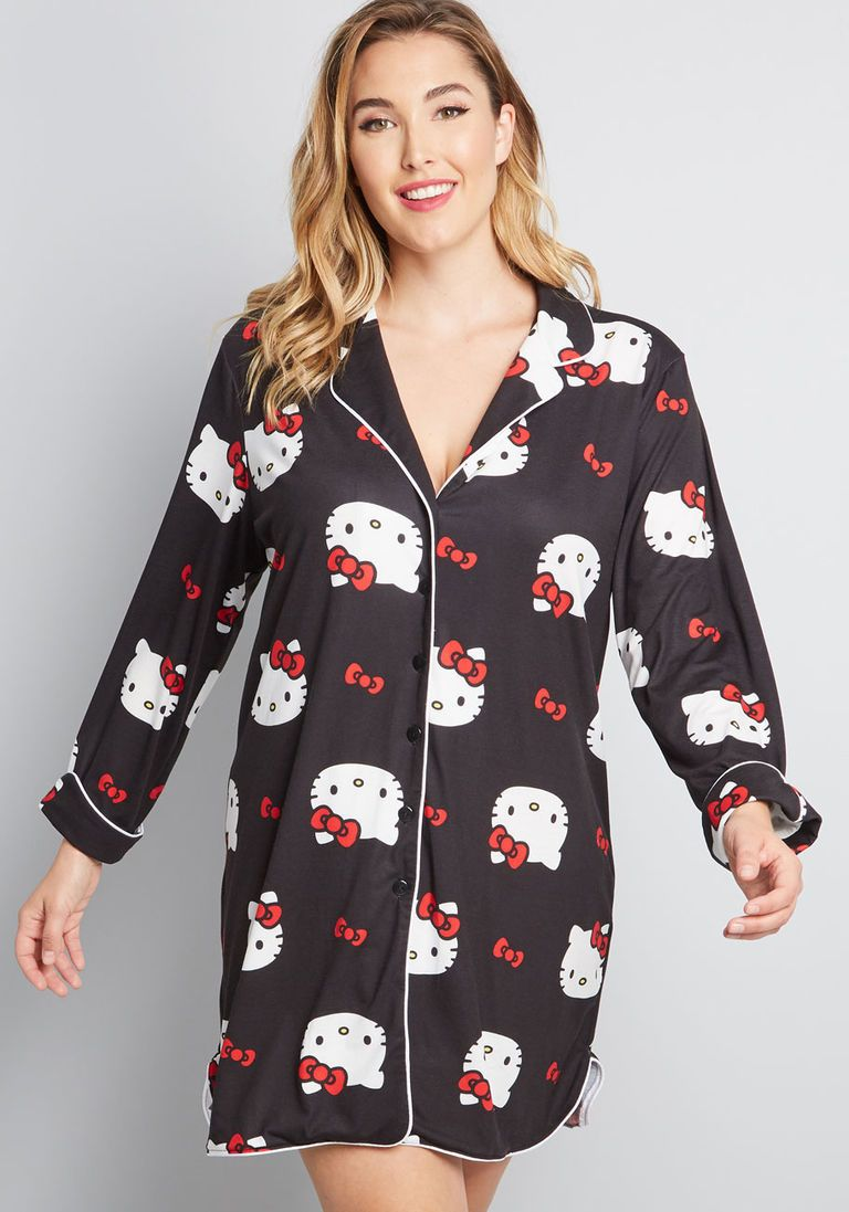3d903efa7 ModCloth for Hello Kitty Sweetest Snooze Sleep Shirt in 2X - Long Sleeve  Short Length by Hello Kitty from ModCloth