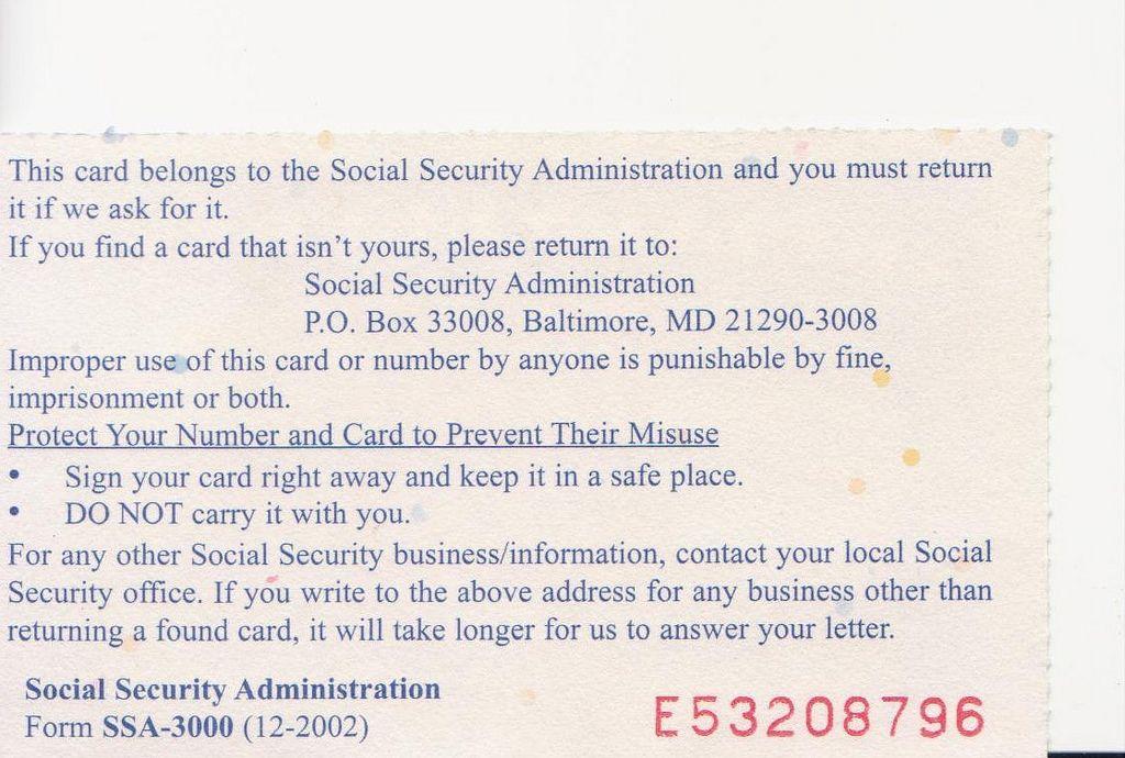 ssc Social Security Card rear Social security card