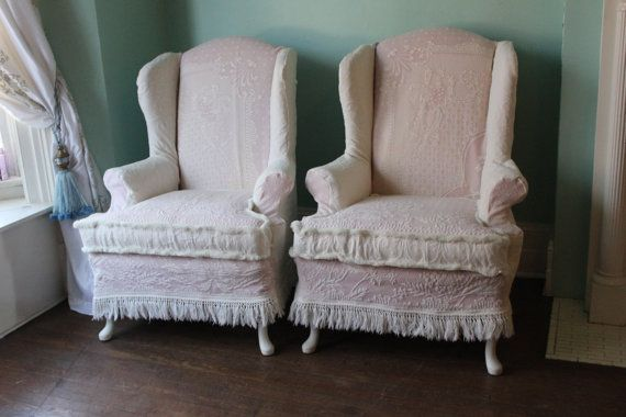 Shabby Chic Wingback Chair Pair Pink White Vintage