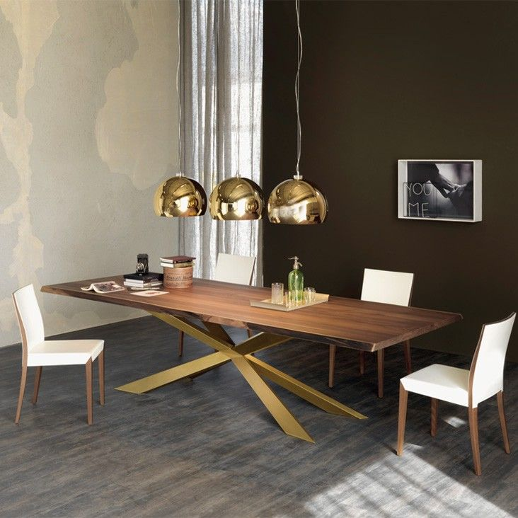 Superior Dining Table With Gold Legs Part - 2: Catalan Italia Spyder Wood Dining Table Gold Legs And Wooden Top Dining  Table With Gold Pendant