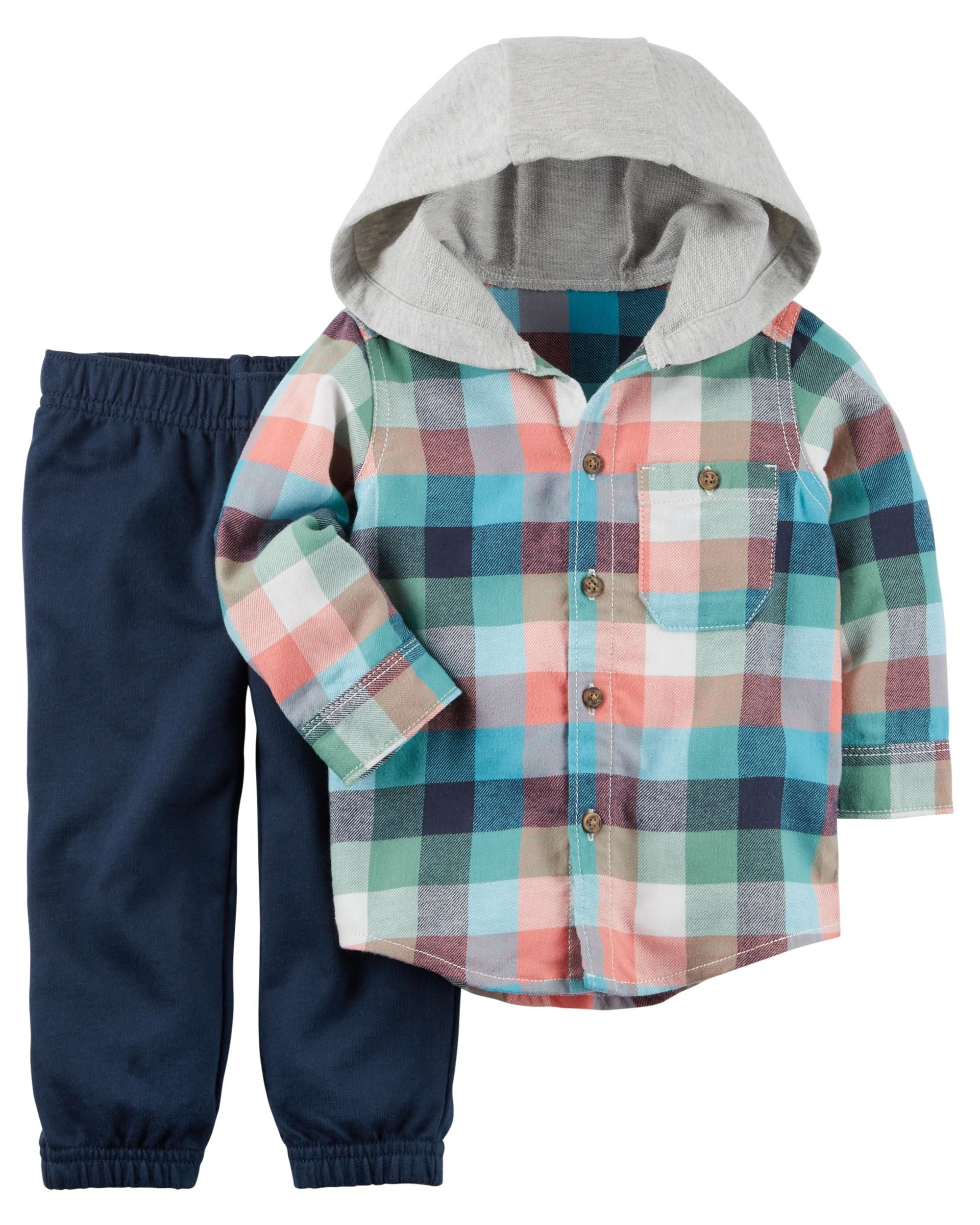 b4241d7d1 Baby Boy 2-Piece Hooded Button-Front & French Terry Pant Set | Carters.com