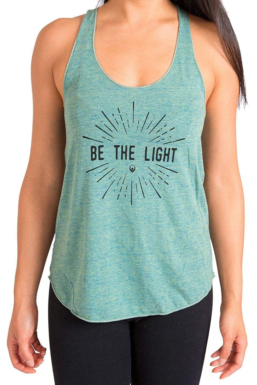 Women's Racerback Yoga Tank Tops (Be The Light) - Be the Light - Lemon - C912MAB9W4C - Sports & Fitn...