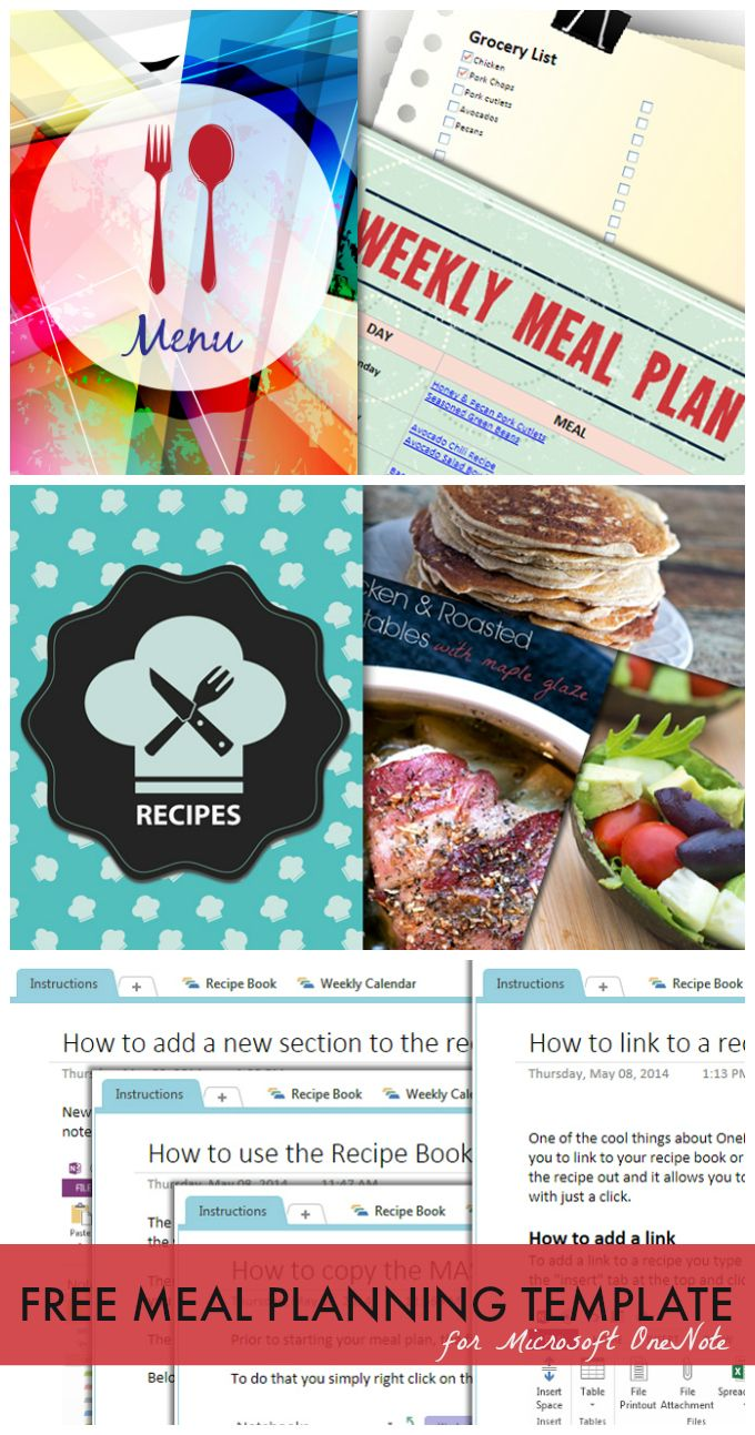 Meal Planning Template for Microsoft OneNote | Pinterest | Ganar ...