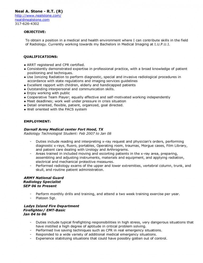 x ray tech resume sample