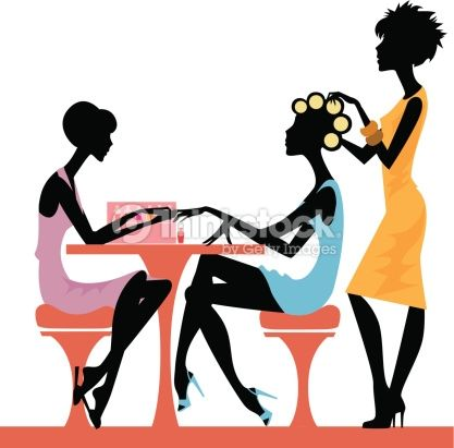 Illustration Of A Women In A Beauty Salon Getting A Hairstyle And Woman Silhouette Silhouette Spa Silhouette