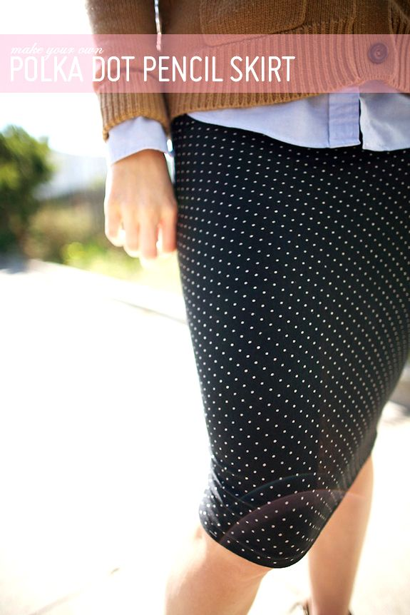 DIY pencil skirt without a pattern. Needs to be stretchy fabric ...