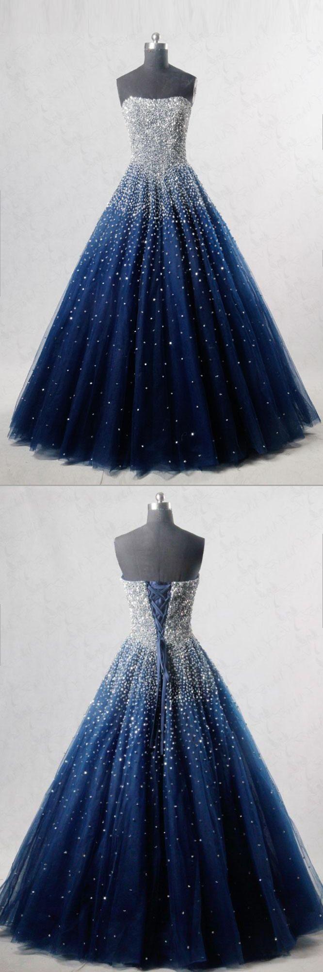 Blue sweetheart sequin tulle long prom dress blue evening dress