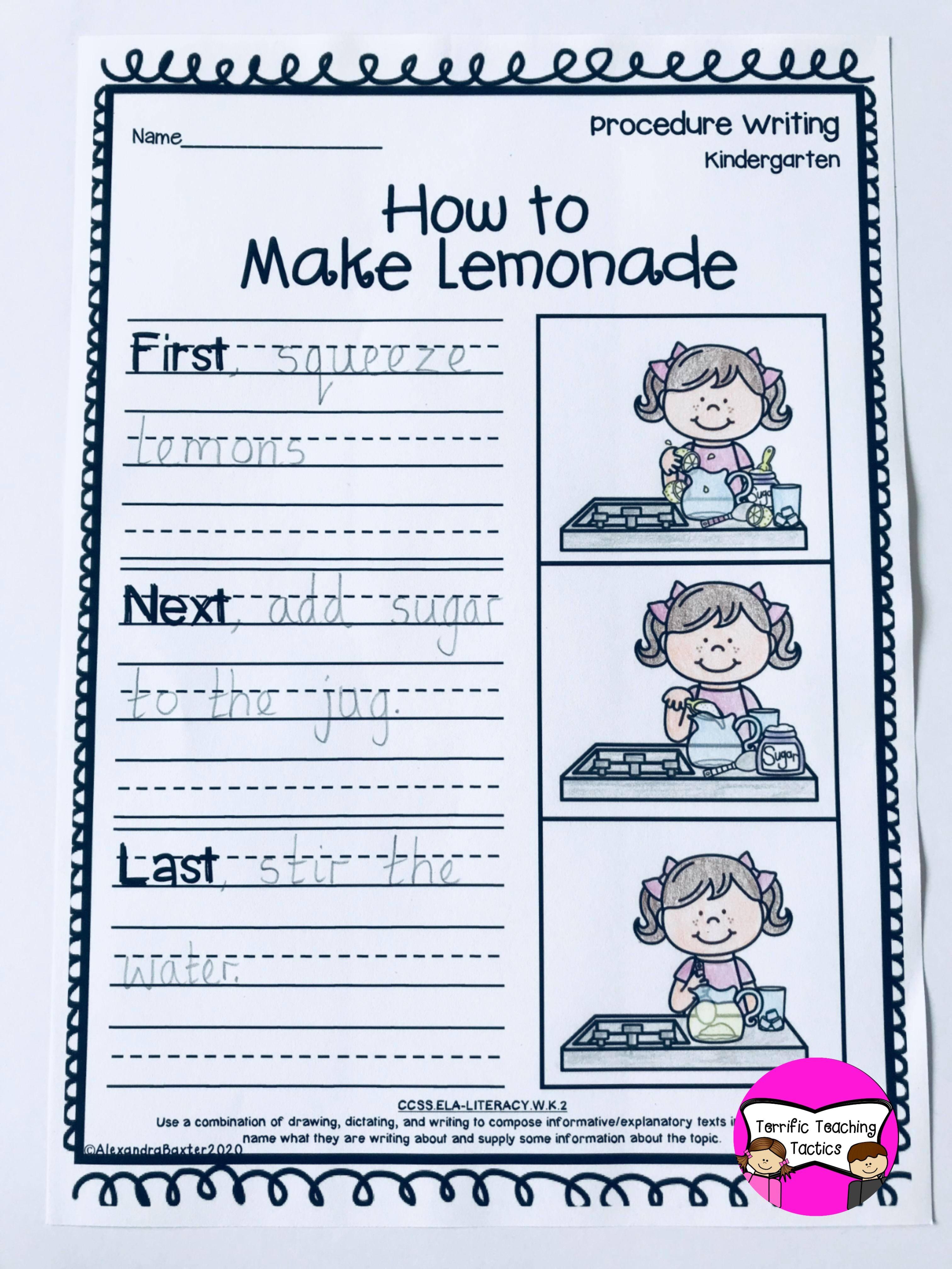 medium resolution of How to Make Lemonade Worksheet   Procedural writing