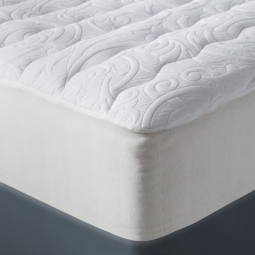 luxury plush mattress pad queen white fieldcrest mattress pad