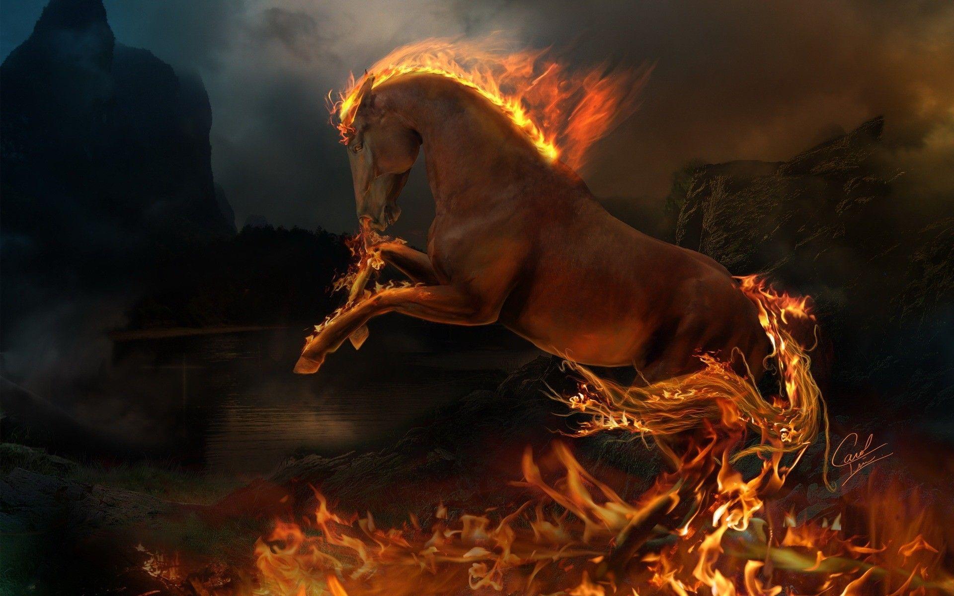 Herunterladen Wallpaper flamme, feuer, tier, pferd