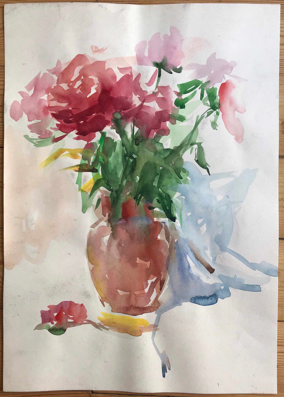 Original Painting Vintage Watercolor Floral Still Life Etsy Original Paintings Floral Watercolor Painting