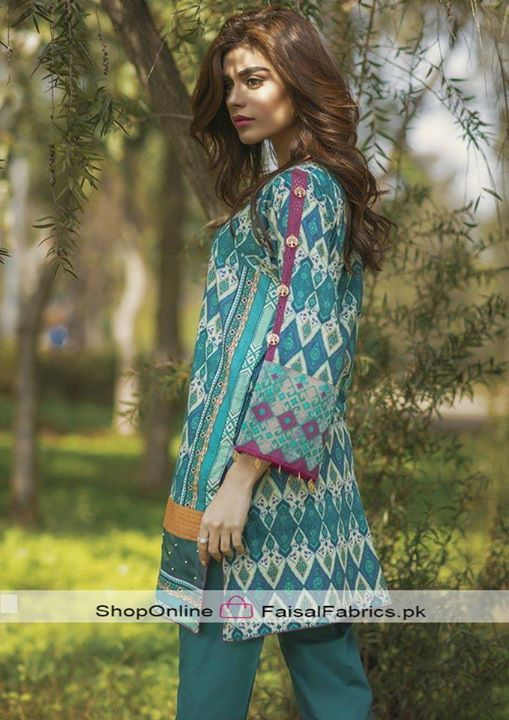 """Alkaram Studio """" 2 Piece Embroidered Collection 2017 """" SS-69-17-Turquoise 