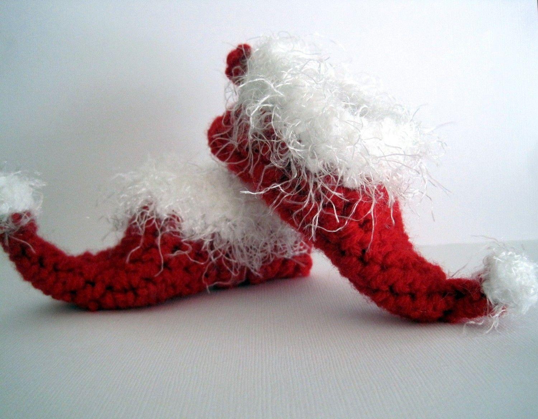 f5c06cf642 Crochet Elf Slippers Baby Booties Christmas Booties Santa Booties Elf Booties  Boy Girl Newborn Infant Photo Prop Red White-- 20.00
