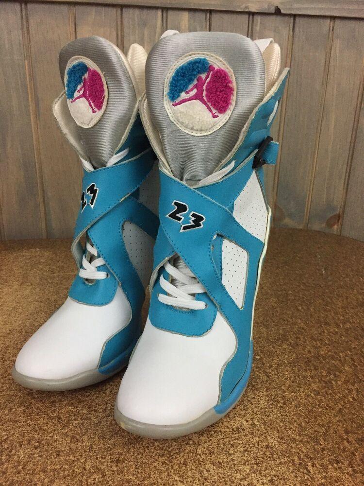 471ed5767d211 Nike Air Jordan White Blue Pink High Top Stiletto Heel Ankle Boots ...