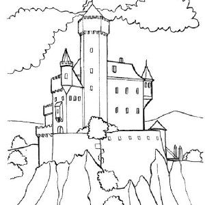 Medieval Castle Medieval Castle On Top Of Hill Coloring Page