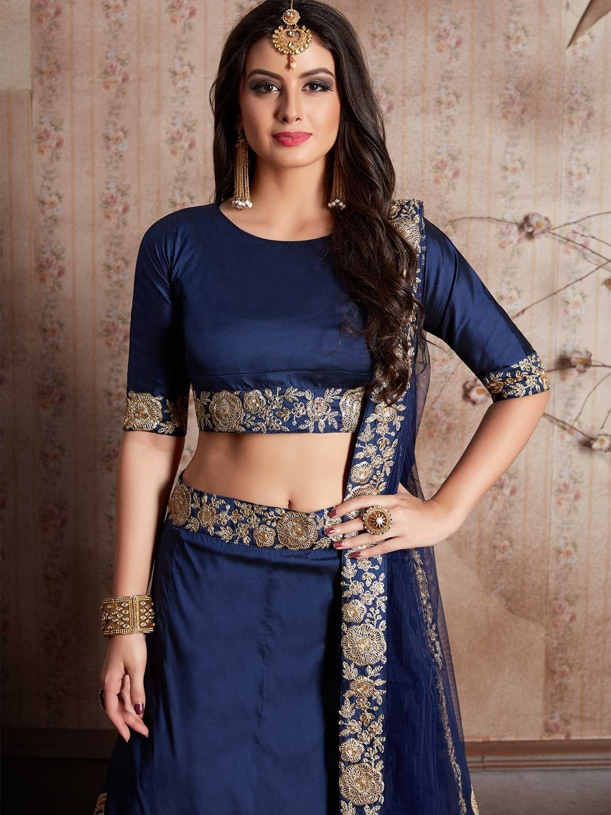b7a50077cb Buy online navy blue Indian lehenga choli, ethnic wear for women at low  prices from ZaraaFab. Pick the latest navy blue Embroidered Indian designer  lehenga ...