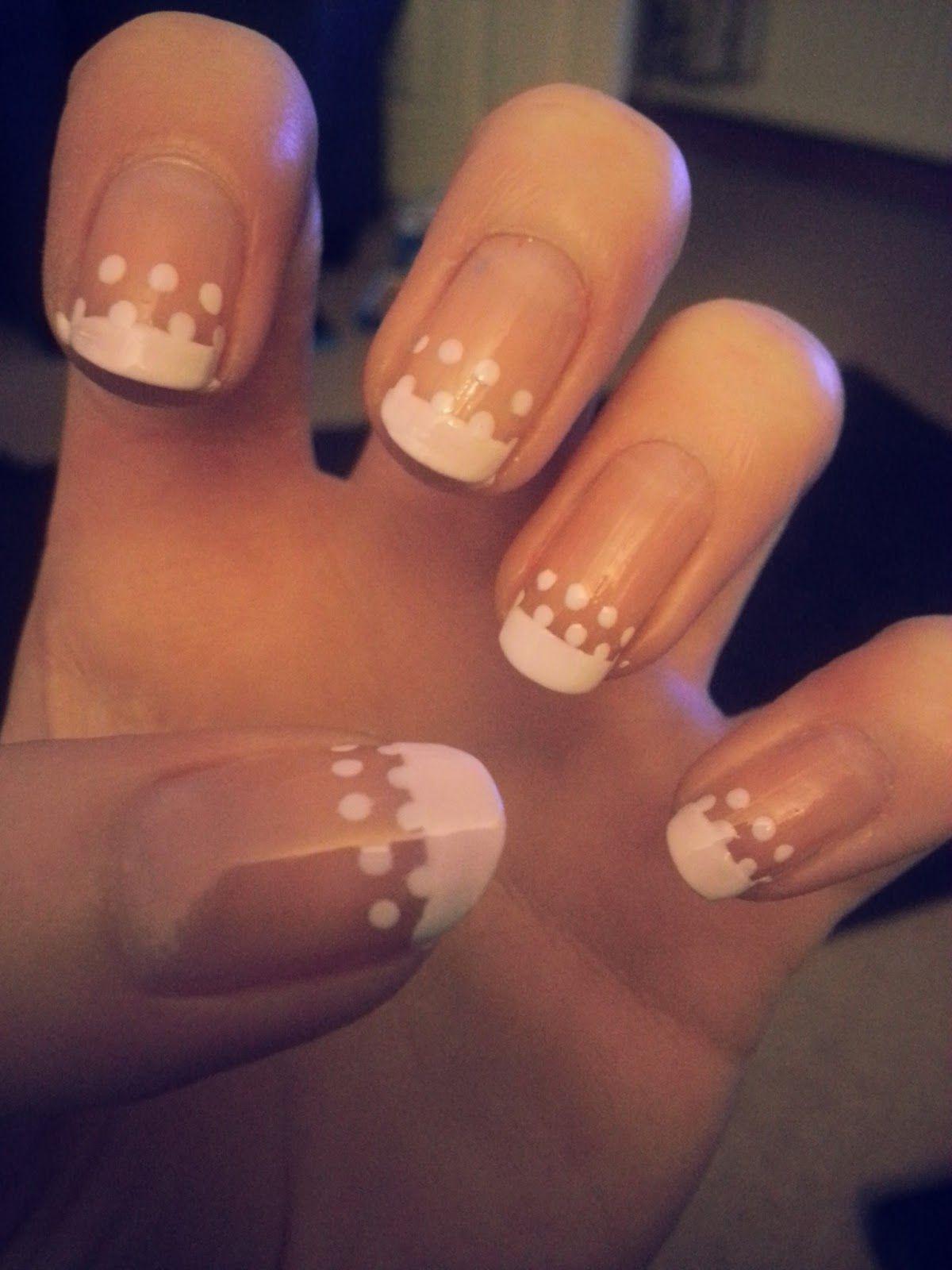 french tip nails | Polka Dot French Tip Nail Tutorial | Nails ...